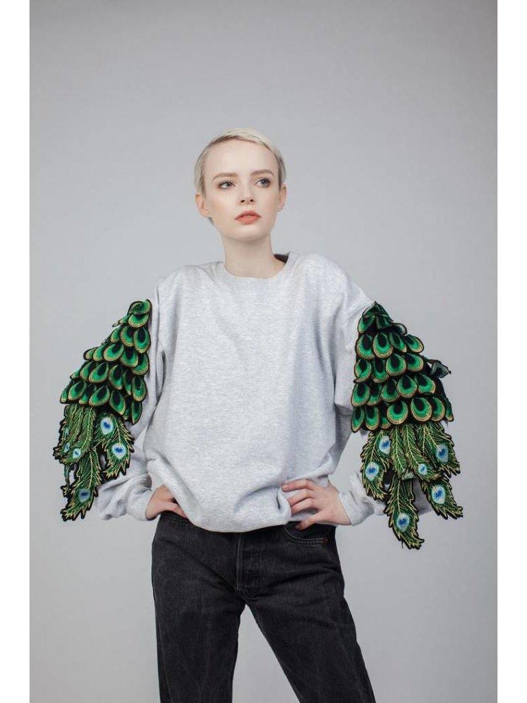 Ragyard Ragyard Peacock Sleeve sweatshirt met pauwdetails grijs