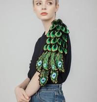 Ragyard Pfauenärmel-T-Shirt mit Pfaudetails schwarz