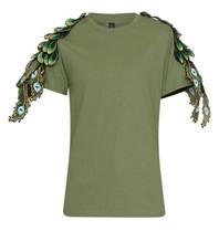Ragyard Peacock-Militär-T-Shirt mit Pfaudetails grün