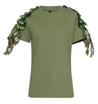 Ragyard Peacock t-shirt military met pauwdetails groen