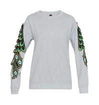 Ragyard Peacock Sleeve-Sweatshirt mit Pfaudetails grau