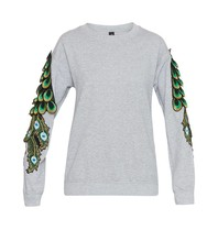 Ragyard Ragyard Peacock Sleeve sweatshirt with peacock details gray