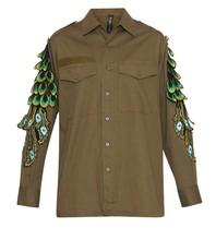 Ragyard Vintage Military Overshirt met pauwendetails groen