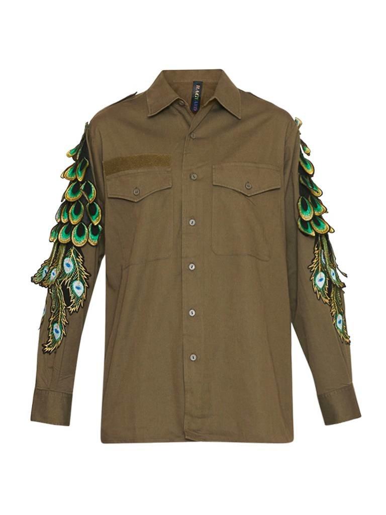 Ragyard Ragyard Vintage Military Overshirt met pauwendetails groen