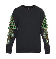 Ragyard Peacock sleeve sweatshirt met ronde hals zwart