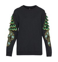 Ragyard Ragyard Peacock sleeve sweatshirt met ronde hals zwart