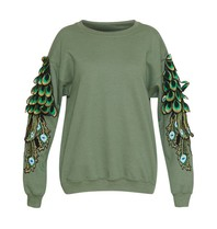 Ragyard Peacock Sleeve sweatshirt met ronde hals groen