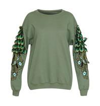 Ragyard Peacock Sleeve-Sweatshirt mit Rundhalsausschnitt grün
