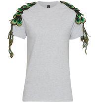 Ragyard Pfauenärmel-T-Shirt mit rundem Halsausschnitt grau grün