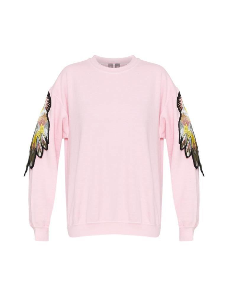 Ragyard Ragyard Parrot sleeve sweatshirt met ronde hals roze