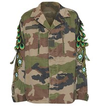 Ragyard Ragyard Camo Peacock jacket with sleeve details army