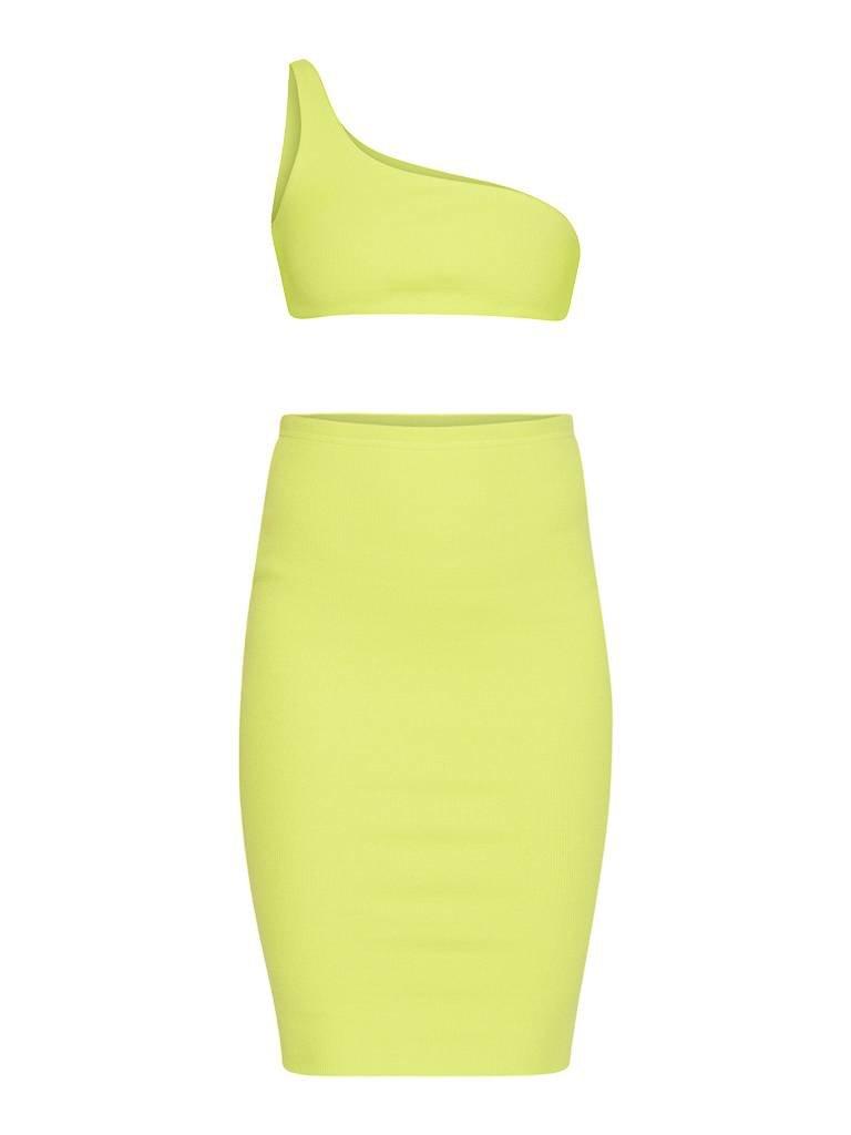 LA Sisters Neon Off Schulter zweiteilig gelb