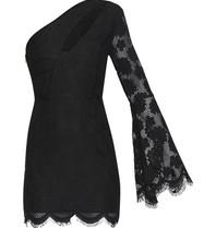 Runaway The Label Rosie Ein-Schulter-Kleid mit Spitze schwarz