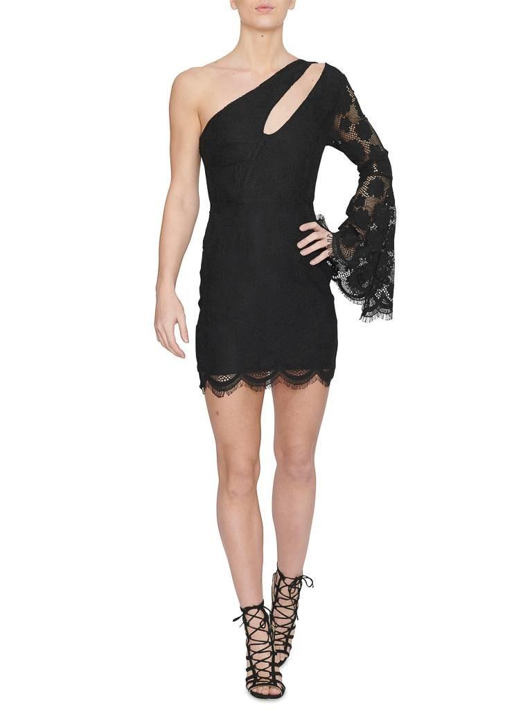 Runaway The Label Rosie one-shoulder jurk met kant zwart