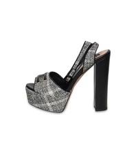 Elisabetta Franchi platform heels with tweed fabric black