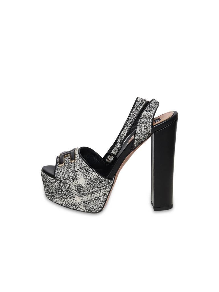 Elisabetta Franchi Plateau Heels mit Tweed-Stoff schwarz