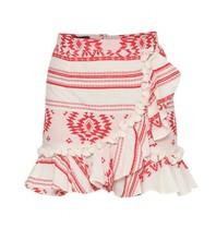 Devotion rok met print en volant rood wit
