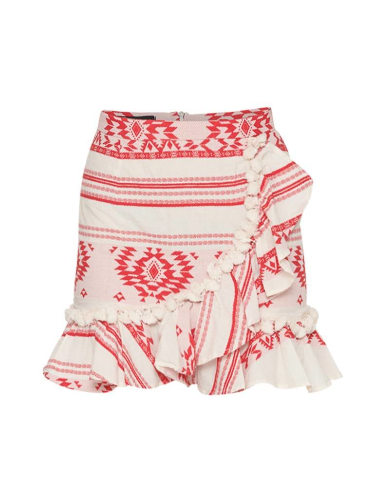 Devotion Devotion skirt with print and volant red white