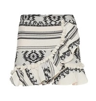 Devotion Devotion skirt with print and volant black and white