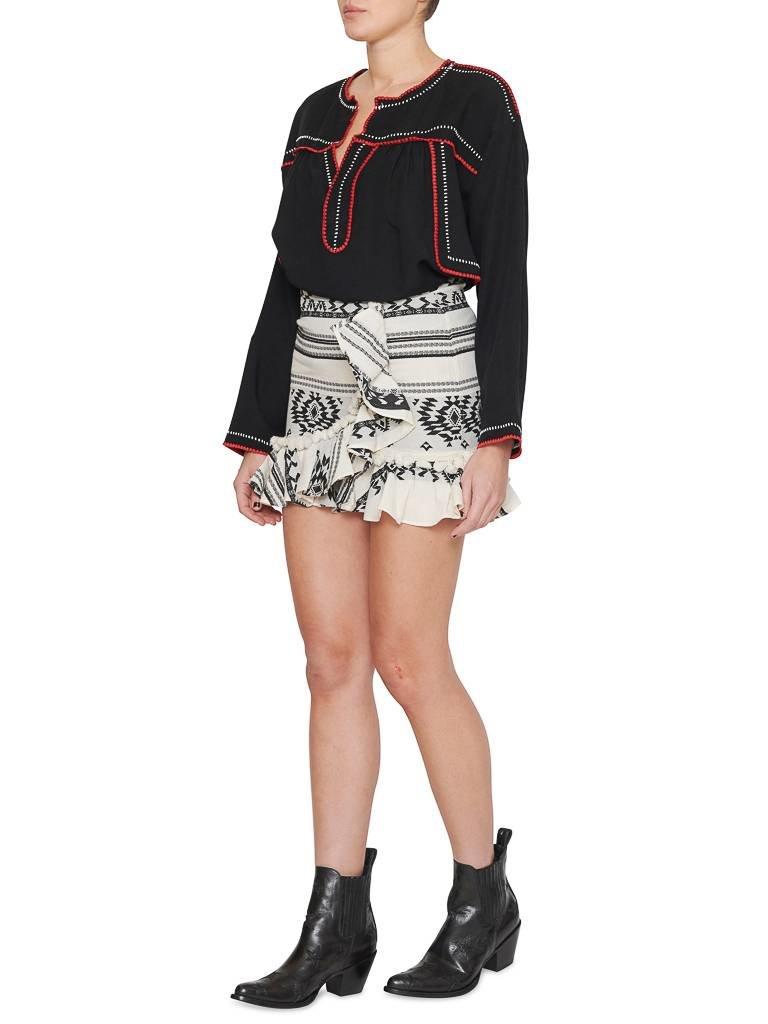 Devotion rok met print en volant zwart wit