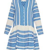 Andacht Mirah Kleid mit Print und Volant Blau Weiß