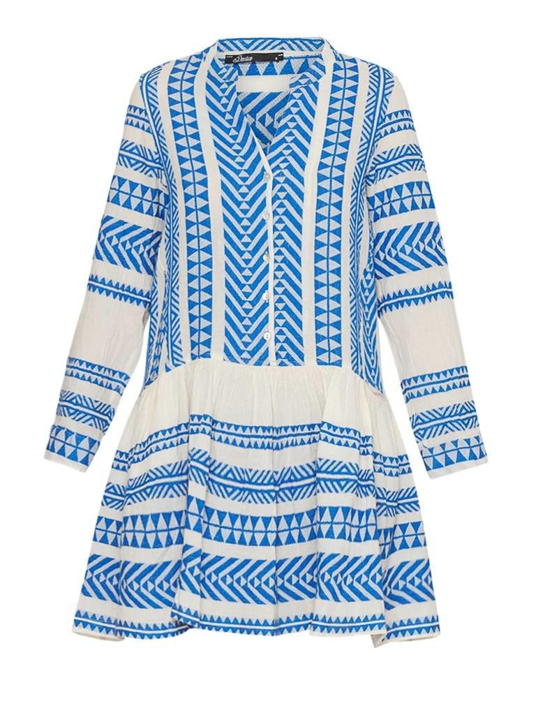 Devotion Mirah jurk met print en volant blauw wit