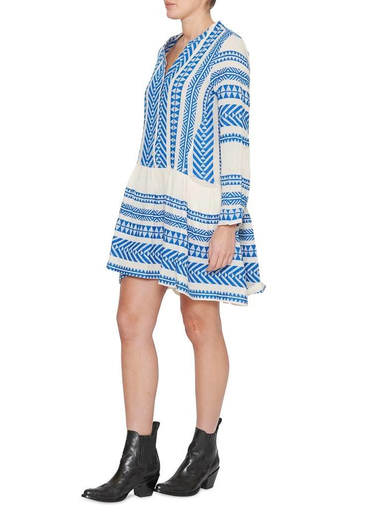 Devotion Devotion Mirah jurk met print en volant blauw wit