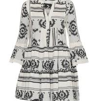 Andacht Zakar Kleid mit Druck und Volant schwarz und weiß