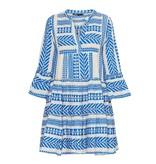 Devotion Andacht Zakar Kleid mit Druck und Volant blau weiß