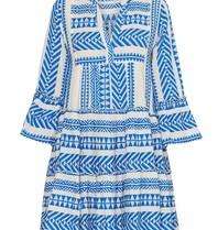 Andacht Zakar Kleid mit Druck und Volant blau weiß