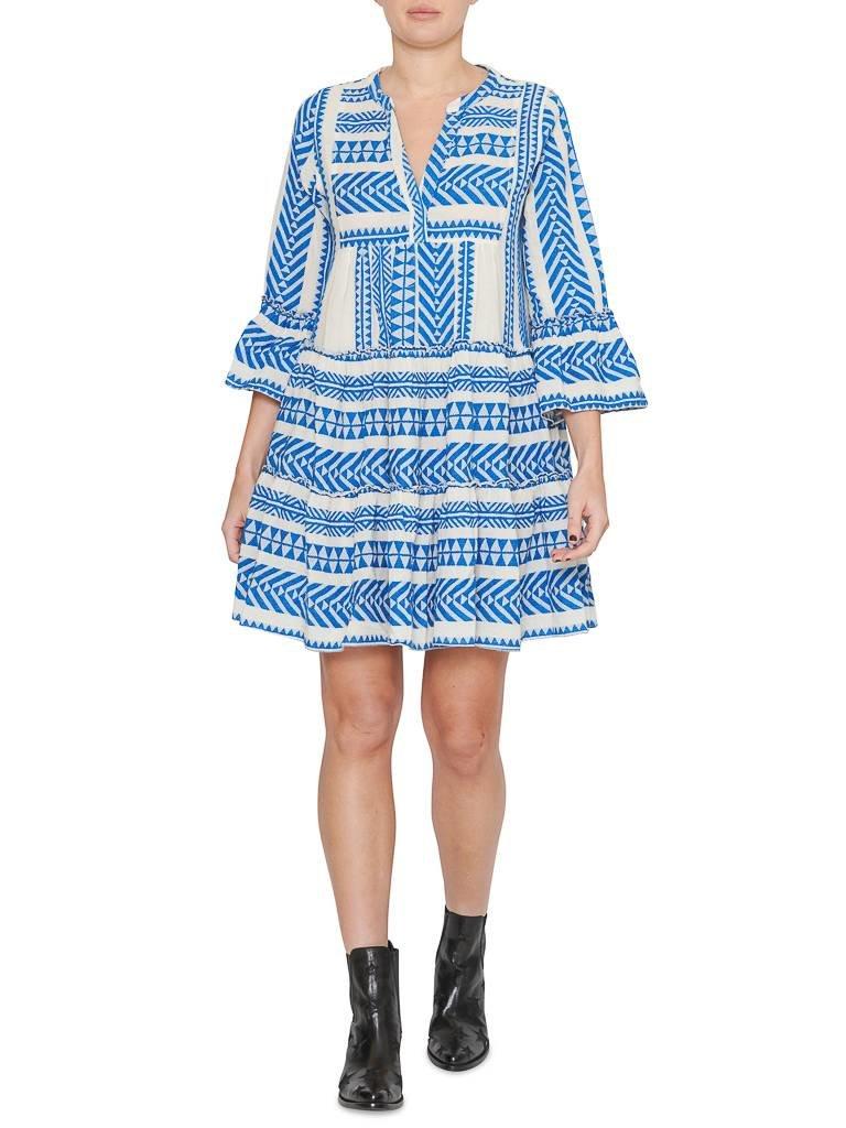 Devotion Zakar jurk met print en volant blauw wit