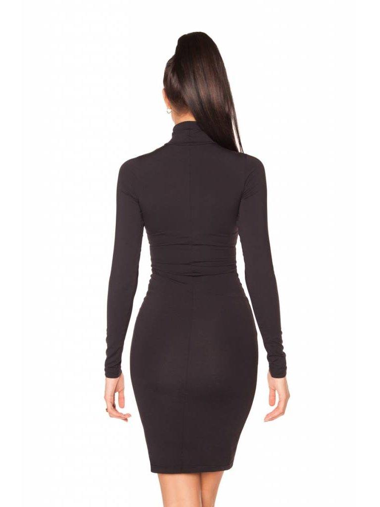 La Sisters LA Sisters basic jurk met tekst zwart