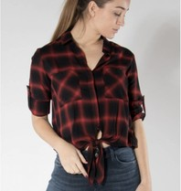 Bella Dahl Bella Dahl with button and checkered print black red