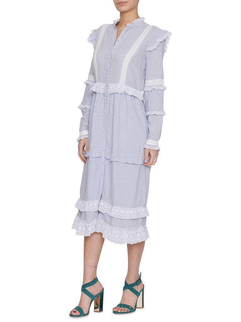 Notes Du Nord Notes Du Nord Kimberly dress with flounced striped blue