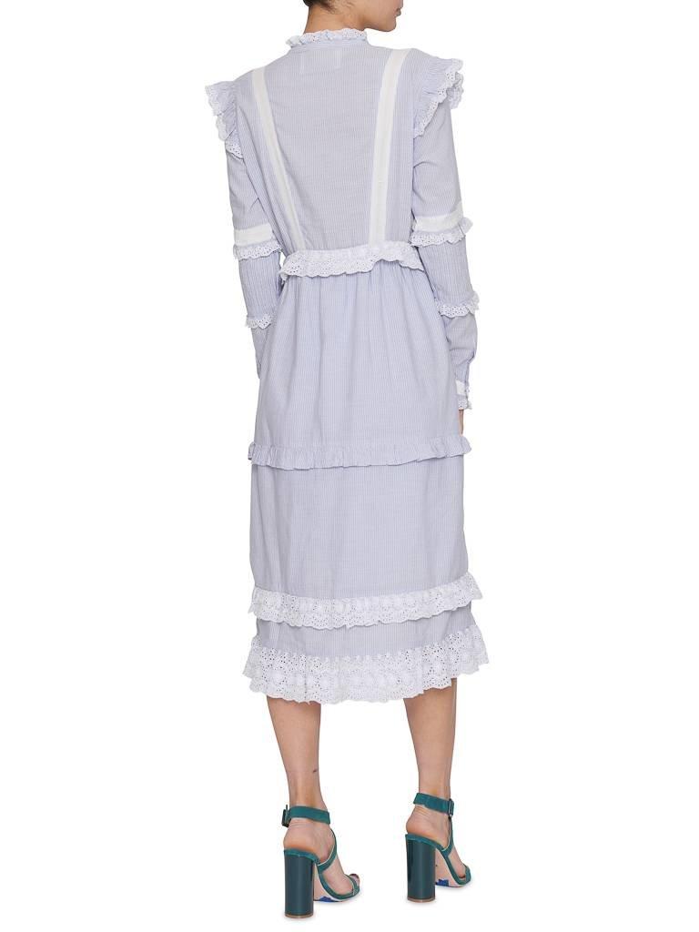 Notes Du Nord Notes Du Nord Kimberly jurk met volants gestreept blauw