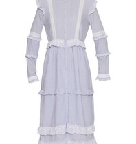 Notes Du Nord Hinweise Du Nord Kimberly Kleid mit Volants gestreiftem Blau