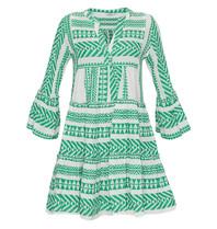 Devotion Zakar jurk met print en volant groen wit