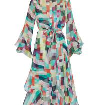 Erika Cavallini-Kleid mit mehrfarbigem, geometrischem Druck