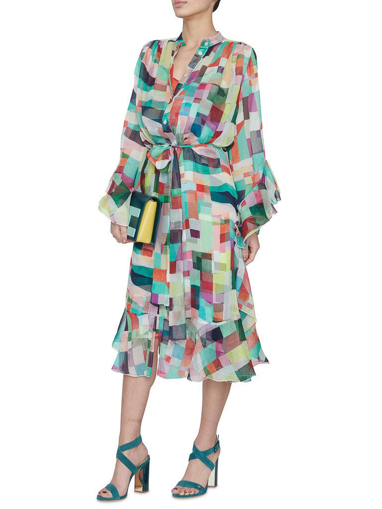 Erika Cavallini Erika Cavallini jurk  met geometrische print multicolor