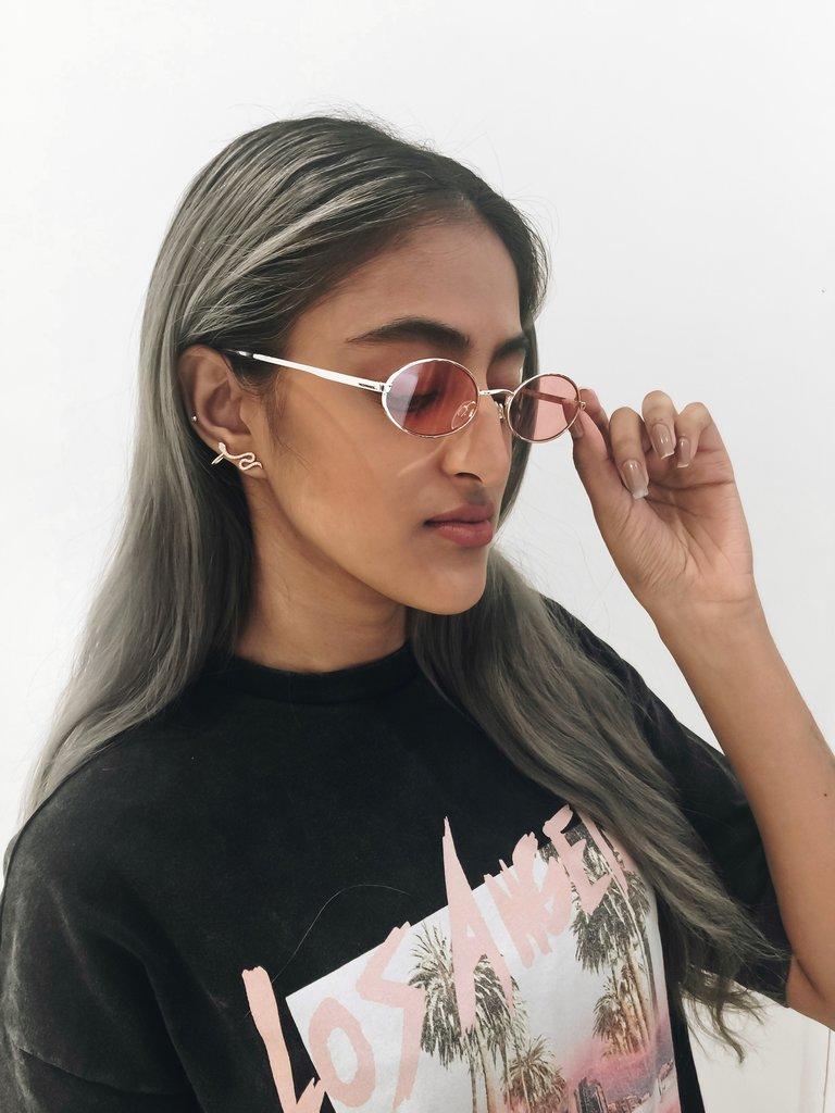 Le Specs Le Specs Love train zonnebril goud roze