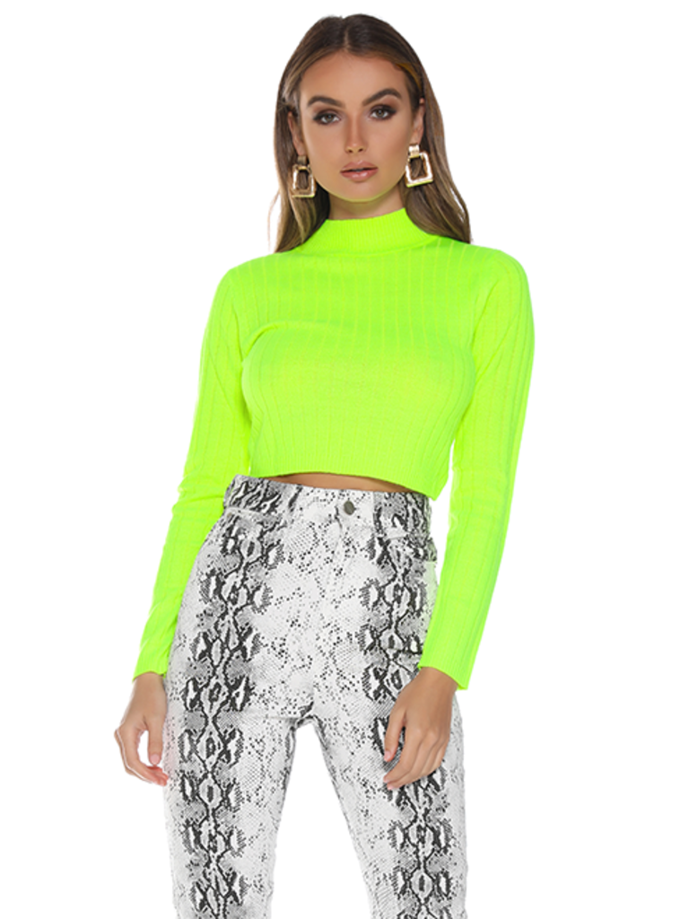 Runaway The Label Runaway The Label Trippin cropped col trui neon groen