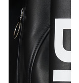 Off-White OFF-WHITE Bikerjacke mit Buchstaben schwarz und weiß