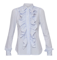 Britt Sisseck Britt Sisseck Juner blouse with ruffles checkered blue white