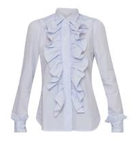 Britt Sisseck Juner-Bluse mit Rüschen kariert blau weiß