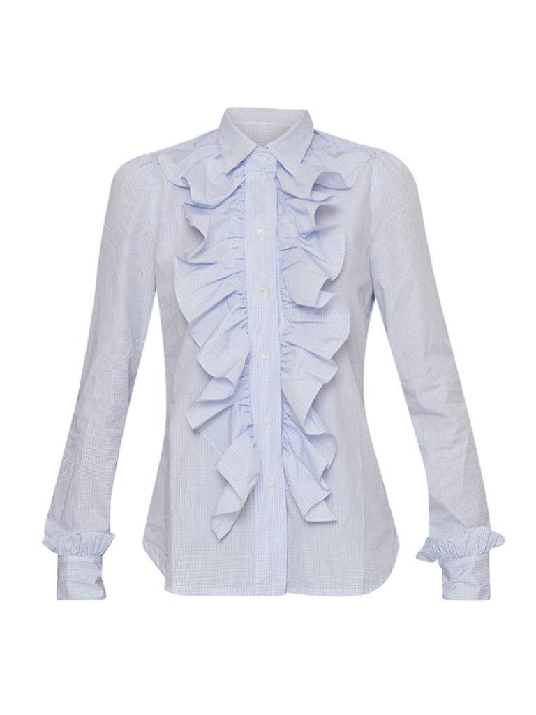 Britt Sisseck Britt Sisseck Juner-Bluse mit Rüschen kariert blau weiß