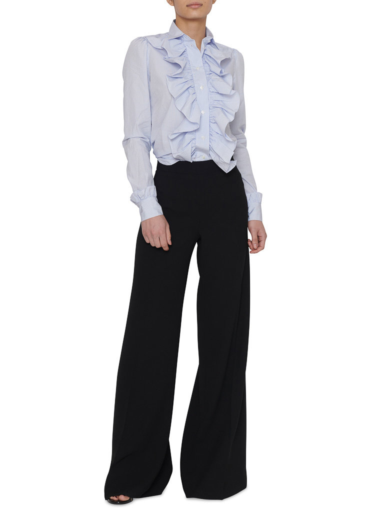 Britt Sisseck Britt Sisseck Juner blouse met ruffles geruit blauw wit