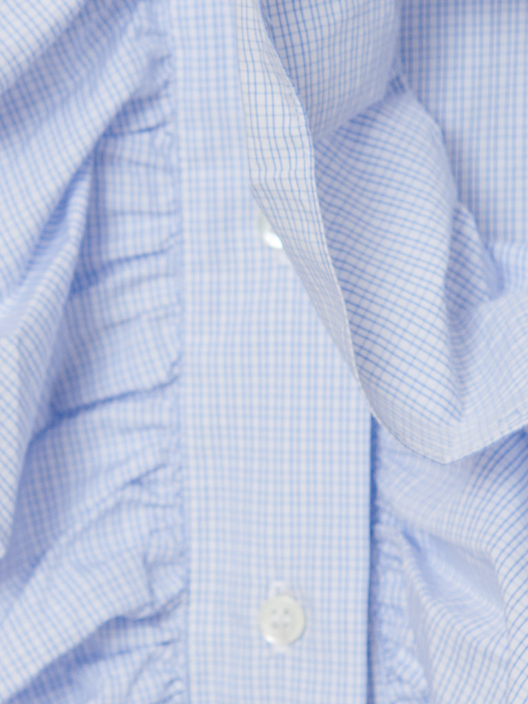 Britt Sisseck Juner blouse met ruffles geruit blauw wit