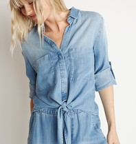 Bella Dahl Bella Dahl blouse with knotted blue detail
