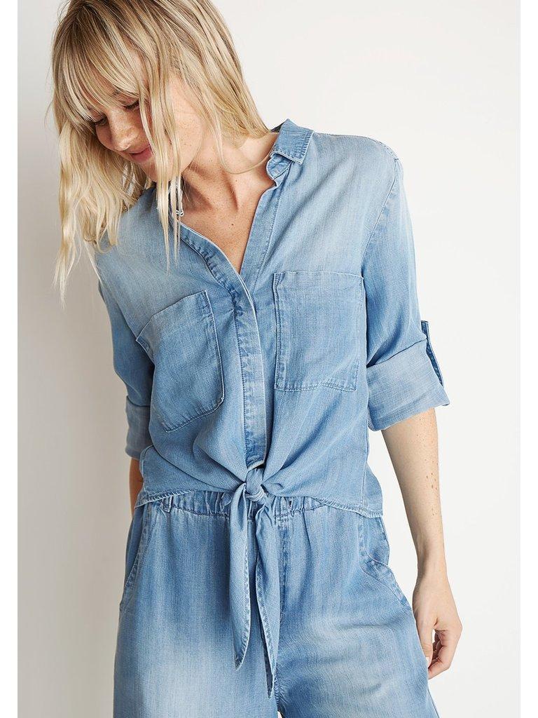 Bella Dahl Bella Dahl blouse met geknoopt detail blauw