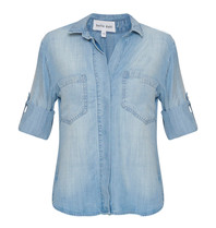 Bella Dahl Bella Dahl blouse met split lichtblauw